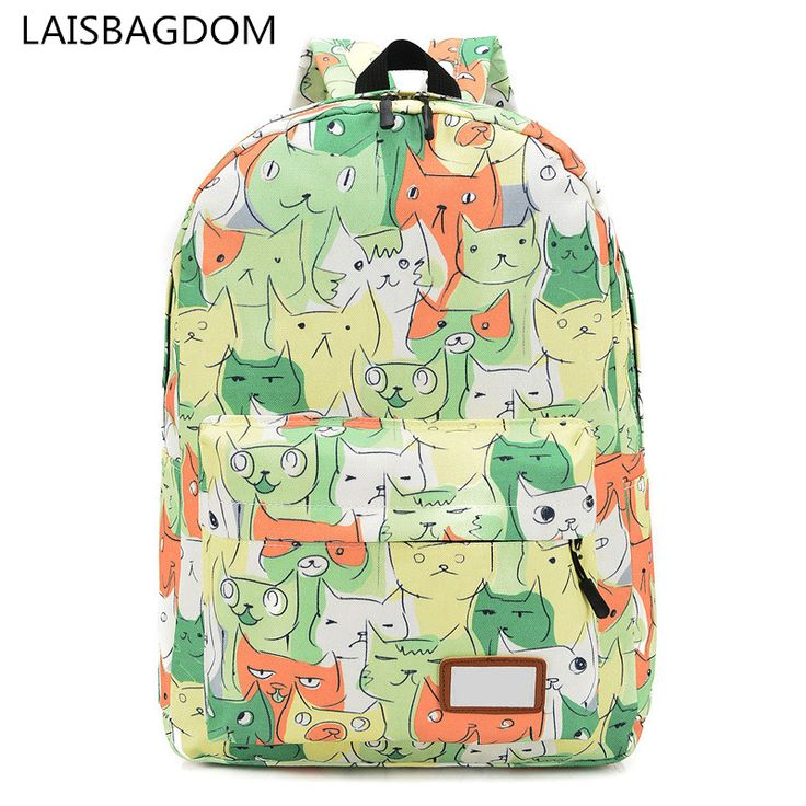 Cartoon Cat Animal Prints Canvas Backpack Women Rucksack College Preppy School Bags for Teenagers Girls Printing Back Packs. Yesterday's price: US $16.86 (13.94 EUR). Today's price: US $11.80 (9.71 EUR). Discount: 30%.