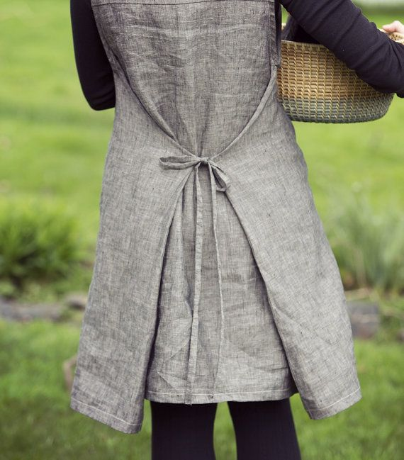 Women's 100% Ebony Linen, Tie-Back Smock Dress, Wrap Dress, Pinafore, Japanese Apron