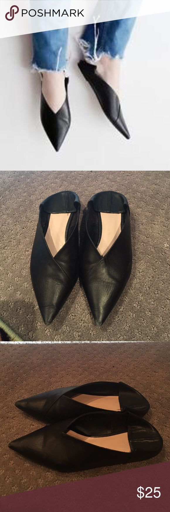 ZARA Black Leather Babouche Slip Ons 36 Blogger favorite!! Zara babouche slippers. Their take on the Celine SS16 shoe. 36 Zara Shoes Flats & Loafers
