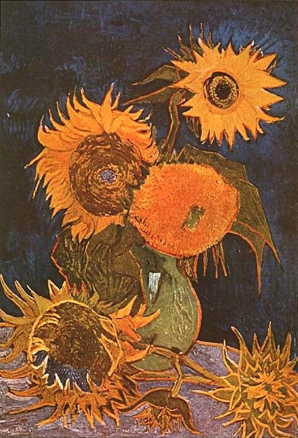 Vincent Van Gogh. Still Life, Vase with Five Sunflowers (1888).