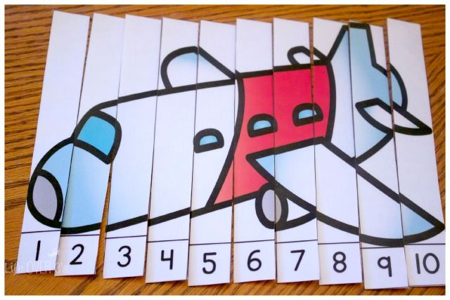 Four line-up puzzles plus three other activities in this free printable pack make adding math to your transportation theme easy.