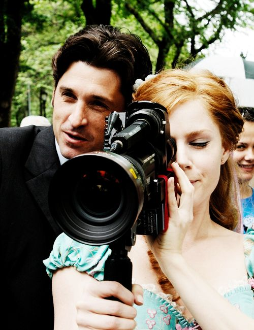 "Amy Adams and Patrick Dempsey on the set of ""Enchanted"" (2007)"