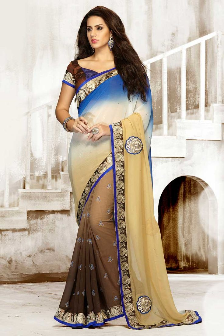 Blue Cream Chiffon Saree with Art Silk Blouse Price:- 56,77 € Designer festival Sari collection with blouse are now in store presented by Andaaz Fashion like Blue Cream Chiffon Saree with Art Silk Blouse. This Saree is embellished with Embroidered, Patch, Resham, Stone, Zari, work and designed with Lace Border Designer Pallu, Asymmetrical Neck Blouse, Short Sleeve. This is prefect for Party, Wedding, http://www.andaazfashion.fr/blue-cream-chiffon-saree-with-art-silk-blouse-dmv7749.html