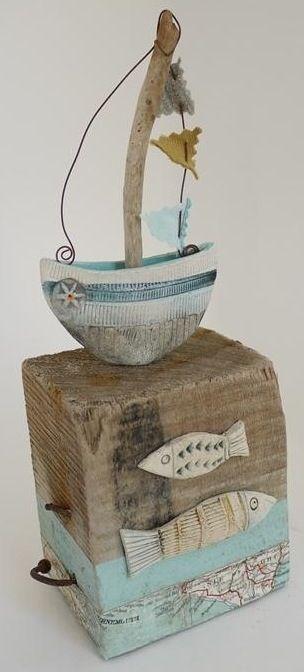 driftwood boat sculpture