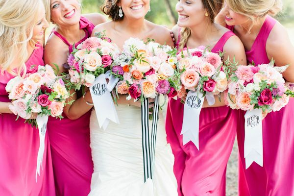 Bouquet with Monogrammed Ribbons | Love, The Nelsons Photography | A monogram theme wedding - 15 Ways to Use Monograms : https://www.fabmood.com/monogram-theme-wedding #weddingbouquets: