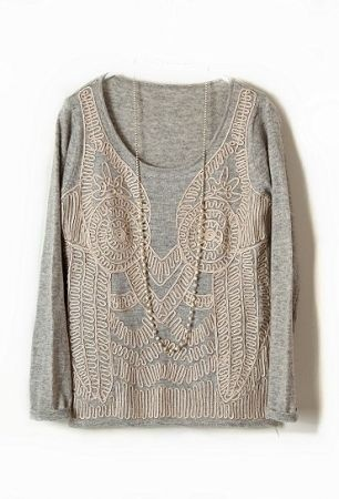 Grey Long Sleeve Elasic Embroidery Pullovers Sweater #SheInside