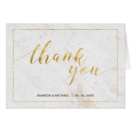 Chic Modern Typography Wedding Thank you note Card Modern