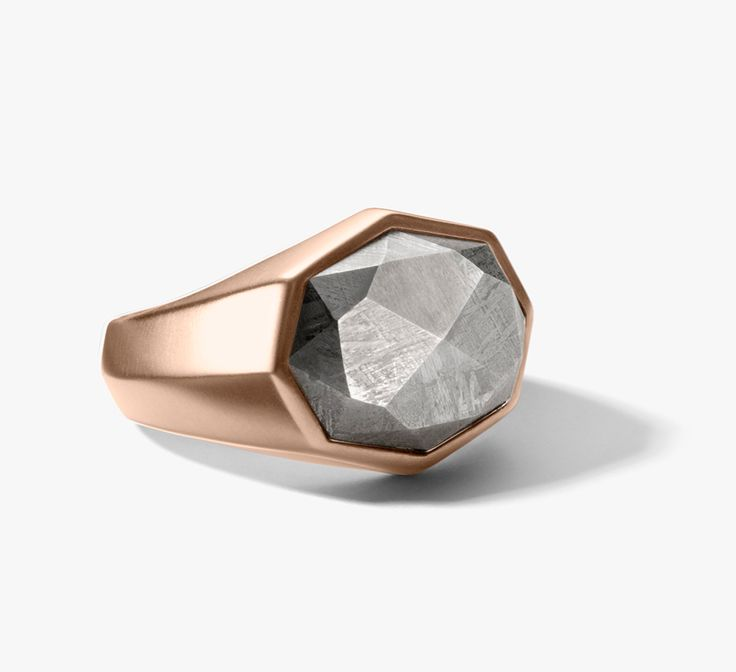 David Yurman Statement Meteorite ring in rose gold from the Meteorite collection.