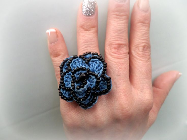 Crocheted Flower Ring / Blue waxed Cord & Black Beads / Celebration Gift / Crocheted Jewelry / Whimsical / Crochet Ring by Vintagespecialmoment on Etsy