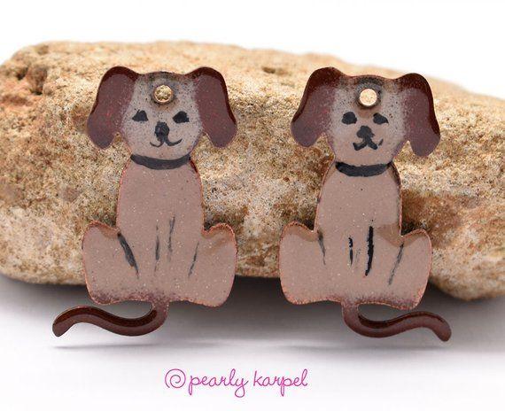 copper earrings enameled dog boho earrings copper jewelry pair jewelry making jewelry component Enameled copper enameled copper