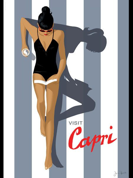 Visit Capri (artist: Jason Brooks) – Cool retro travel poster. Love the minimalist style…