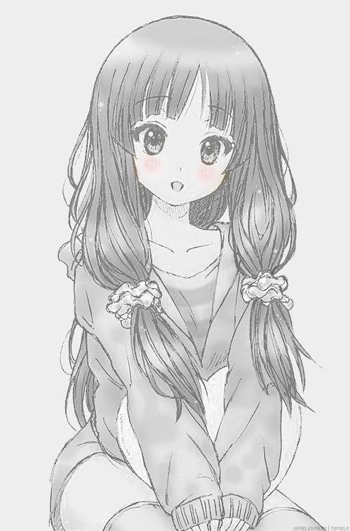 pinterest anime girl black and white - Tìm với Google