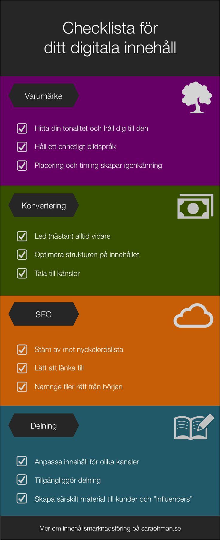 Checklista för ditt digitala innehåll