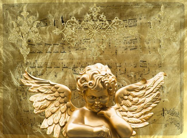 Angel, Wing, Angel Face, Gold