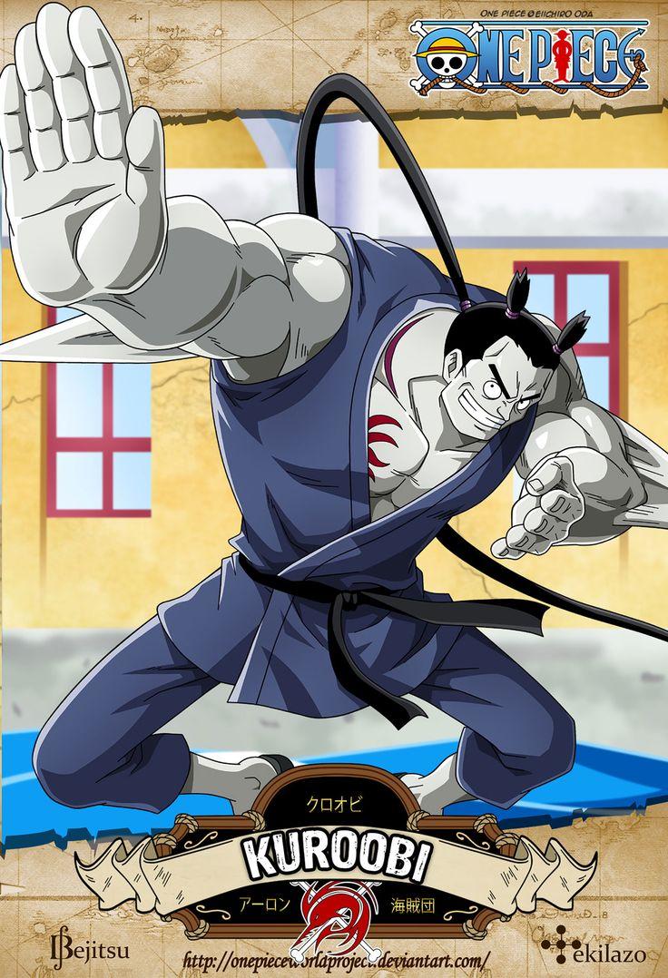 One Piece - Kuroobi Es un hombre-pez de la raza manta que utiliza técnicas de Gyojin karate tanto en tierra como en agua. Es uno de los oficiales de Arlong Park, demostrando ser uno de los más fuertes de su banda, junto a sus compañeros Chew y Hatchan
