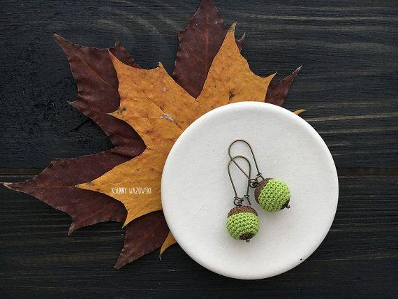 Acorn earrings amigurumi acorn earrings cheerful by ksunnywazowski