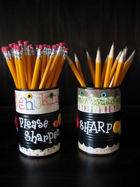 Sharpen and Sharp pencil cups! Every classroom needs this. Stop fighting about pencils!