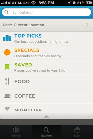 Foursquare iPhone search screenshot