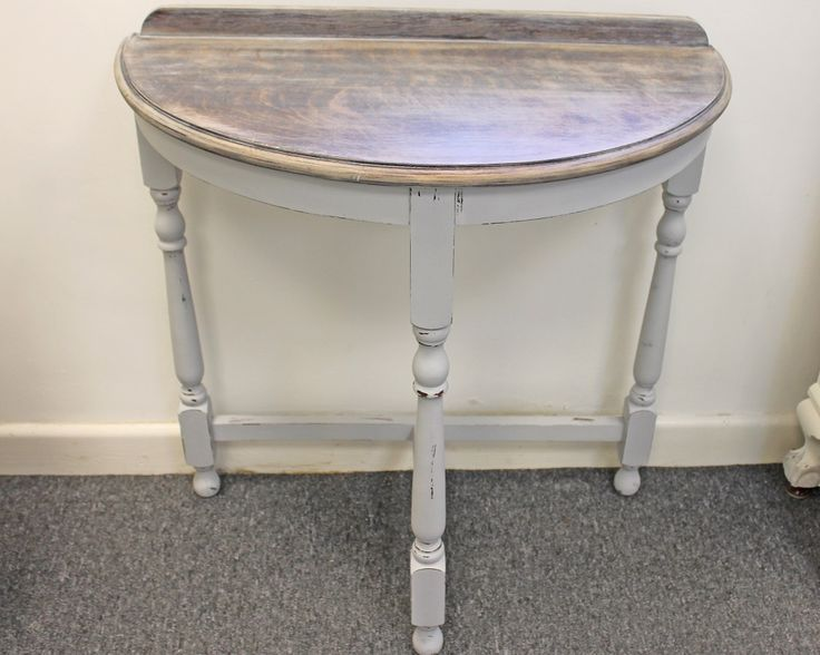 beautiful country style half moon console table chalk painted in grey and waxed