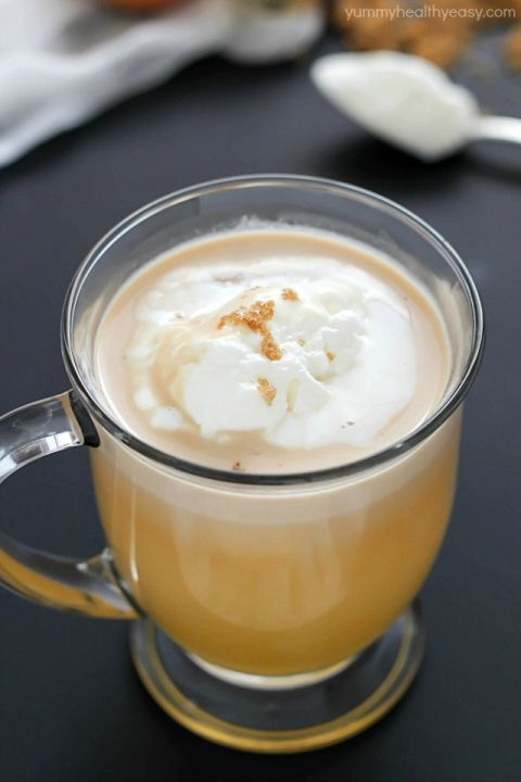 Warm, creamy, delicious caramel hot apple cider cooked right in the crock pot, and with only 4 easy ingredients! #truvia
