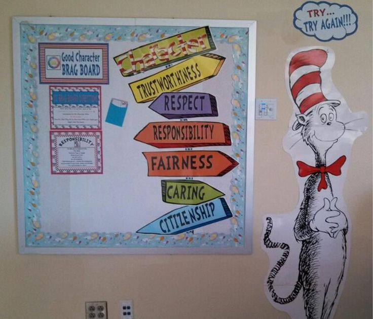 Seuss Character Counts Board. Students nominate students showing the Pillar of the Month character trait.