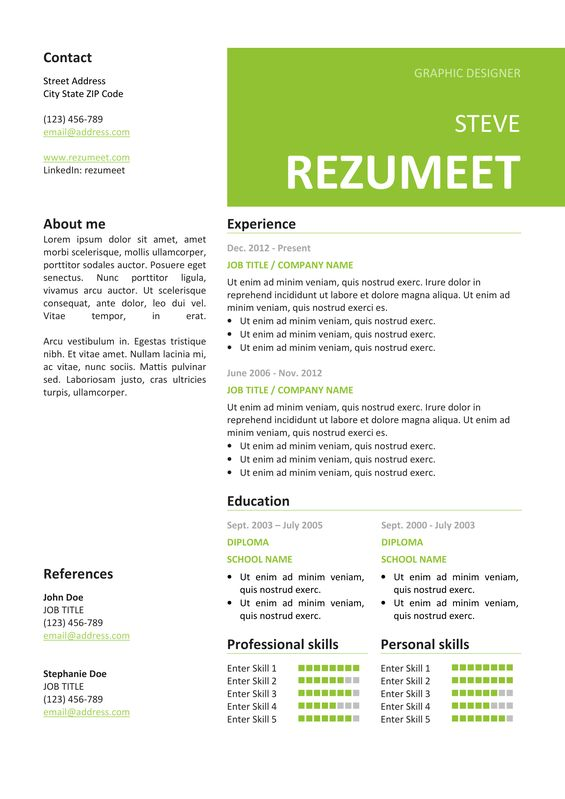 126 best Classic resume templates images on Pinterest Free - 2 column resume template