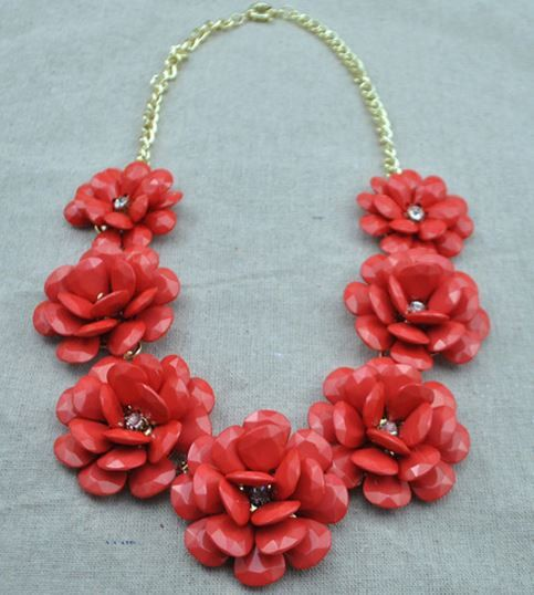 Red rose Flower Bubble necklace Statement necklace red by HotDecor, $19.99