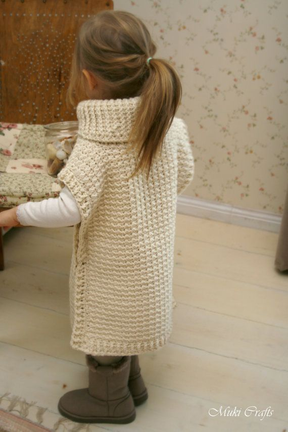 CROCHET PATTERN poncho Scarlett with turtleneck and by MukiCrafts