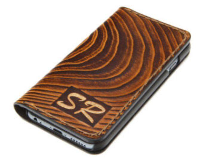 Madera diseño - iPhone 7 funda cartera de piel / iPhone 7 carpeta de cuero / iPhone 6 estuche de cuero gratis iniciales grabado / regalo para él