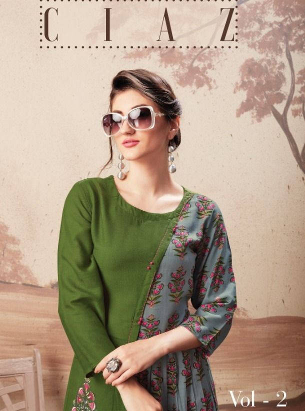 95eaa8e7f5 S-More Fashion Ciaz Vol 2 Printed Rayon with Work Designer Long Flair  Readymade Kurtis Dealer Surat