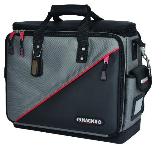 C.K Magma Technicians Tool Case Plus - Durable polyester construction. Bright red inner lining for easy visibility of stored items. 100% waterproof and crackproof rubberised base. Padded handle and shoulder strap for maximum comfort. Padded central c