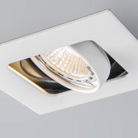 Foco para empotrar ARTEMIS blanco - Bonito foco empotrado cuadrado. El foco es orientable y ajustable y puede enfocarse hacia todas las direcciones. Bellamente acabado con una textura arenosa que proporciona una apariencia de calidad y lujo. Este foco cuadrado se instala en un agujero redondo.
