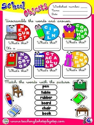 School Objects - Worksheet 5