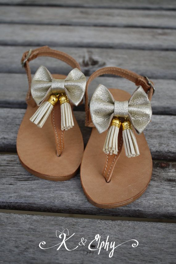 Children's Greek Summer Leather Sandals - Natural color leather with Flower detail on Etsy, £34.37