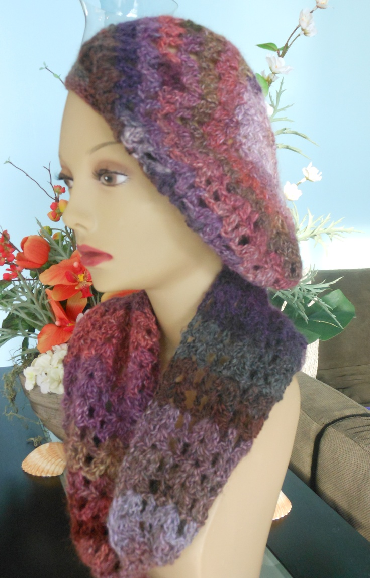 Made in  multi-color shades of purple, wool - beret hat with matching neck scarf - slip-thru front closure