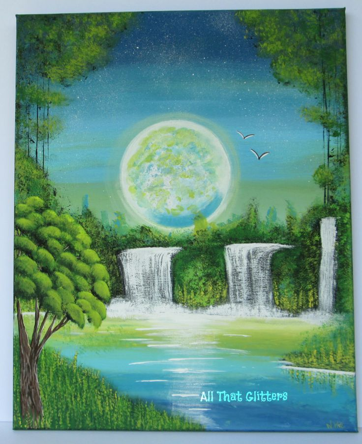 This painting is titled: Serenity Falls 16x20 acrylic https://www.facebook.com/allthatglitters1234
