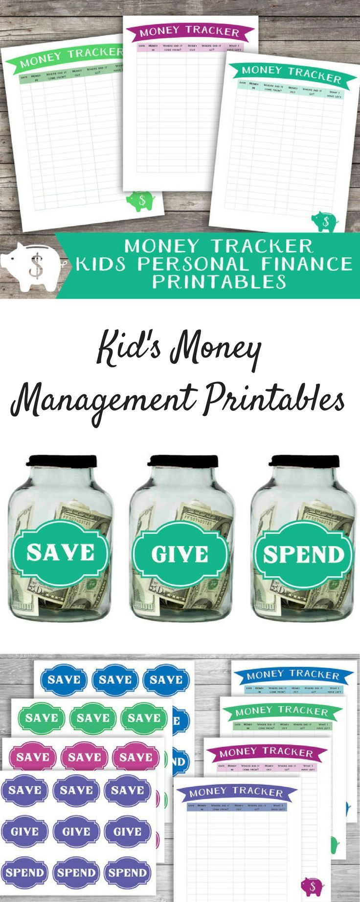 Cute printable system for teaching your children to manage money!  Perfect for teaching percentages of amounts of money to save, spend, and give! #ad #budgeting #budget #financialliteracy #moneymanagement
