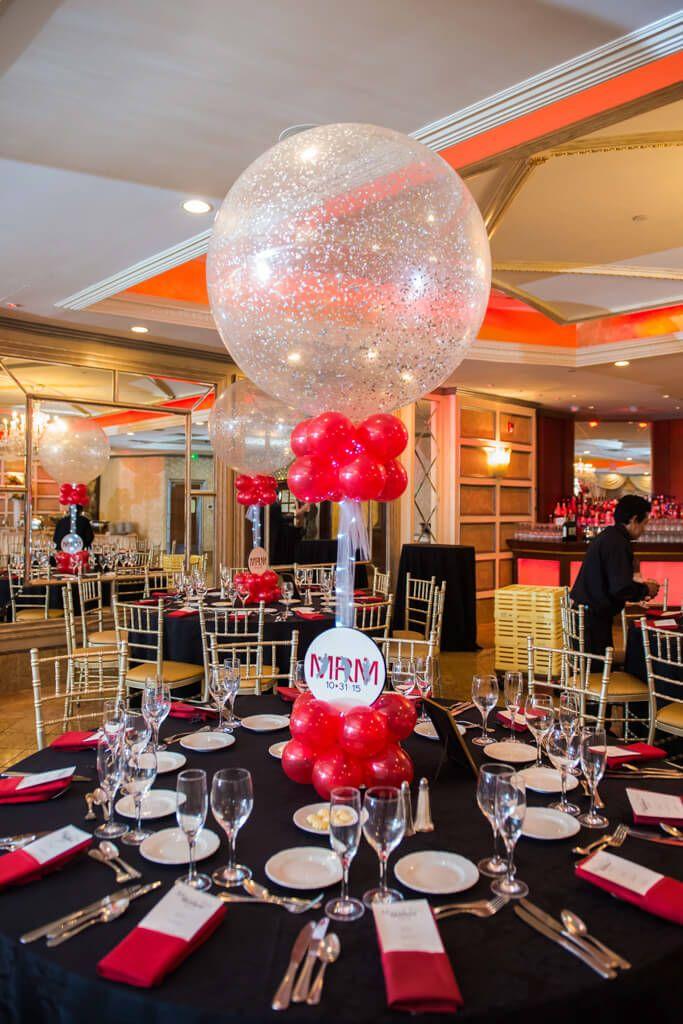 Red & Silver Balloon Centerpiece Red & Silver Sparkle Balloon Centerpiece with Custom Logo Base