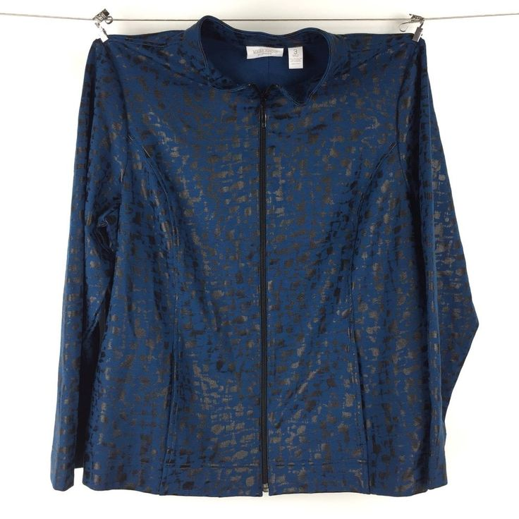 Weekends by Chico's Womens Blue Black Animal Print Zip Up Jacket Size 3 WC15 #Chicos #ZipUpLightJacket