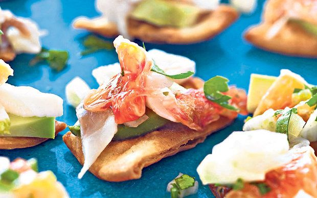 Stevie Parle shares his favourite canapé recipes - here he shows   you how to make ceviche tostadas