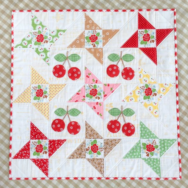 carried away quilting wall hanging free pattern mini story stars plus cherry - Simple Shapes Wall Design 2
