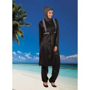 Islamic swimwear in black with sparkly rhinestones! From www.hijabnow.com