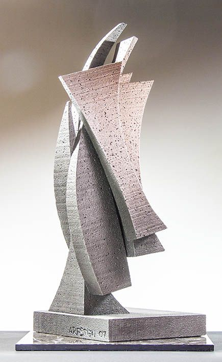 Full Sails, is a architectural abstract metal sculpture by Richard Arfsten.
