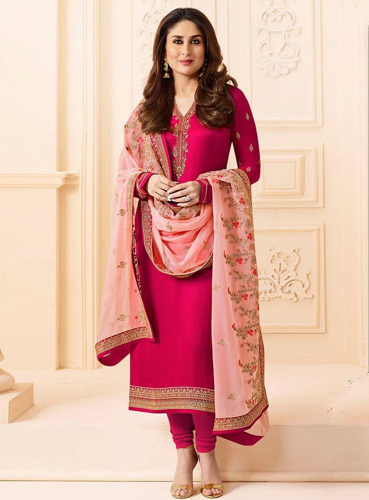 Kareena Kapoor Magenta Georgette Churidar Salwar Suit 114077