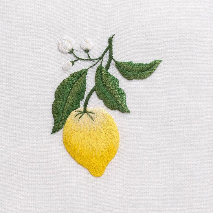 Lemon<br>Hand Towel - White Cotton