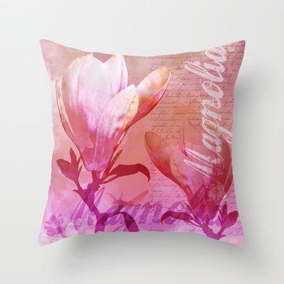 Magnolia pink Throw Pillow