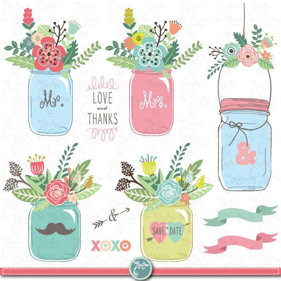 "Hand Draw Mason jar Clipart: ""WEDDING MASON JAR"" clip art Mason Jar,Wedding…"
