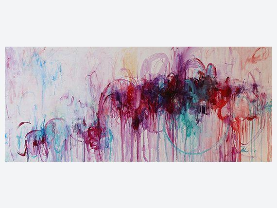 large wall art Violetpurple tealturquoise abstract