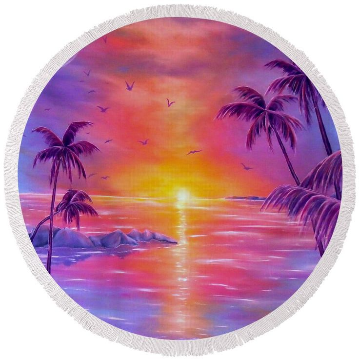 Round Beach Towel,  purple,violet,colorful,accessories,cool,trendy,fancy,beautiful,unique,awesome,modern,artistic,fashionable,unusual,for,sale,design,items,products,ideas,tropical,palmtrees,sunset