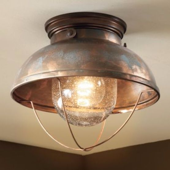Rustic Ceiling Light Flush Mount Cabin Nautical Fishing Lodge Copper Kitchen  #NotBranded #RusticFisherman